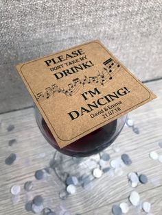 Excited to share this item from my #etsy shop: 25 Wedding Drink Cover Cards Kraft Fun Music Dancing Party Song Token Game Custom Customized Personalised Wedding Favor Favour Ticket