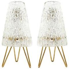 Pair of Kalmar Table Lamps, Brass and Glass, 1960 Brass Table Lamps, Curved Glass, Mid-century Modern, Modern Table, Glass Texture, Sconce Lighting, Light Table, Glass Shades, 1950s