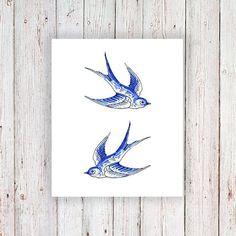 Delft Blue swallow tatouage temporaire / delft blue par Tattoorary