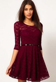 Shop Wine Red Round Neck Belt Lace Dress online. Sheinside offers Wine Red Round Neck Belt Lace Dress & more to fit your fashionable needs. Free Shipping Worldwide!