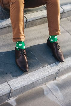 Green Spot Sock - get the latest look from www.rockmysocks.com great range of patterned and coloured men's socks. Fabulous unique designs. Perfect for weekend or weekday wear, paired with casuals or a suit, great for Spring Racing. Free shipping within Australia. Only five dollars international post. Socks $15 a pair