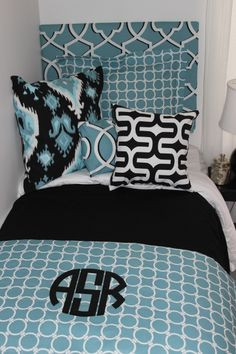 blue and black dorm room bedding 2014 dorm room www.decor-2-ur-door.com geometric dorm room designs add a monogram