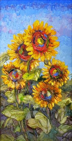 """Landscape Artists International: """"Coming Up Sunshine"""" New Sunflower Palette Knife painting by Niki Gulley"""