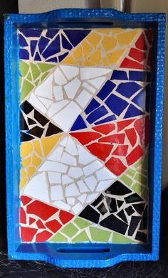 Mosaic Tray, Mosaic Tile Art, Mosaic Artwork, Mosaic Crafts, Mosaic Projects, Mosaic Designs, Mosaic Patterns, Hobbies And Crafts, Indian Art