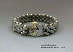 Hardware. 'Tuercas y Tornillo' Bracelet by Aurelio Castano. Nuts, washer, screw, and seed beads, assembled in peyote stitch.