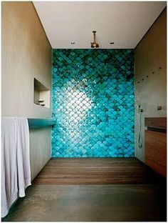 Incredible blue mermaid tiling, simple room. lush, reminds me of mermaid games with my cousin, Liz. Via Prue Ruscoe via a yellow house by the sea