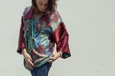 Kimono floreale, kimono in seta fatto in Italia