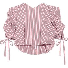 Caroline Constas Gabriella off-the-shoulder striped cotton bustier top ($395) ❤ liked on Polyvore featuring tops, shirts, crop tops, red, red crop top, long-sleeve crop tops, crop top, striped off-the-shoulder tops and striped crop top