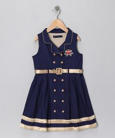 Take a look at this Navy & Gold Belted Dress - Infant, Toddler & Girls by Periwinkle on #zulily today!