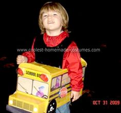Homemade School Bus Costume: I am a bus driver and my son rides with me. He just loves school buses. So, the only costume suitable for him was a Homemade School Bus Costume. Since
