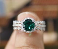 3pcs Emerald Engagement Ring Set7mm Round Cut Emerald by LeRhin