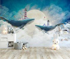 Northern European style creative hand painted Sky White cloud whale Nursery Wallpaper, Kids' Room Baby's Room Wall Murals Wall Decor - Modern Waves Wallpaper, Nursery Wallpaper, Tree Wallpaper, Whale Nursery, Star Nursery, Animal Nursery, Art Mural, Wall Murals, Nursery Murals