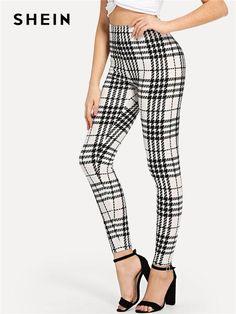 c79ecdaa01 SHEIN Black And White Office Lady Highstreet Plaid Skinny High Waist Casual  Leggings Summer Women Elegant Leggings Trousers