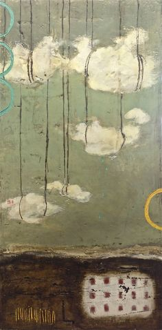 Stephanie Lee , Theater of clouds, encaustic Art And Illustration, Mixed Media Collage, Collage Art, Wax Art, Plaster Art, Cloud Art, Encaustic Painting, Art Graphique, Klimt
