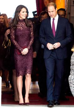 Kate Middleton looked stunning in a plum lace dress while attending an event with Prince William, Jackie Chan, and Chinese President Xi Jinping on Wednesday, Oct. 21 -- see the photos!