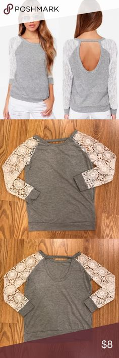 Gray/ White Lace Sleeve Back Detail Top XS Unbranded • but very cute • Gray/ White • Lace Sleeve • Back Detail • Top/ Shirt • XS or small S • worn several times • in excellent condition • bundle and save • reasonable offers welcome • Instagram: by_bowaddict Tops Tees - Long Sleeve