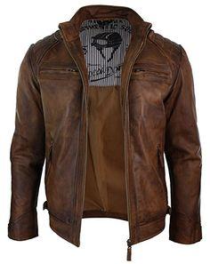 Veste marron en véritable cuir lisse vielli pour homme avec fermeture éclair style motard retro décontracté: Amazon.fr: Vêtements et accessoires