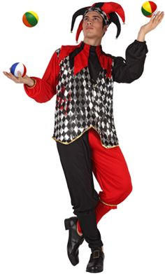 Disfraz de Bufón Real Negro-Rojo adulto