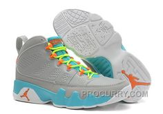 new arrival 937a0 aa830 Girls Air Jordan 9 Retro Wolf Grey Neon Orange-Mint Candy For Sale Cheap