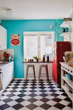 Kitchen Captivating Retro Floor Ideas With Black White Ceramic For Design And Wooden Table Shelves Also Natural Brown 2 High Chair On The Flooring 10 Amazing Decorating