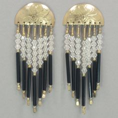 Gold filled Tabra vintage earrings with clear and black Swarovski crystal beads. Solid 14kt gold posts. VV16GP