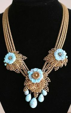 Four Strand Miriam Haskell Necklace Gilt Metal Motifs Turquoise Glass Flowers
