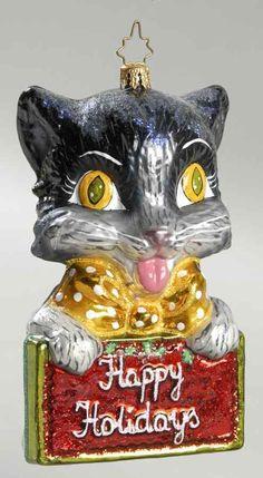 Christopher Radko CHRISTMAS ORNAMENT Happy Holidays Cat 7444233