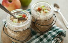 Make a big batch of these oatmeal jars on Sunday night to have on-the-go breakfasts for the whole week. If you like, top the oatmeal with chopped apples just before serving.