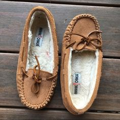 Minnetonka Chestnut Slippers Worn once, excellent condition! Ships Immediately! Minnetonka Shoes Slippers