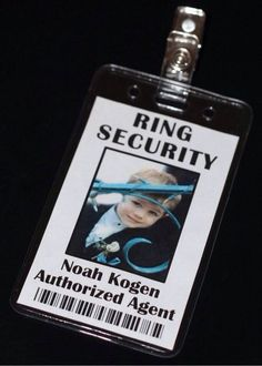 Ring bearer Security Badge would be so cute with the ring security shirt at the rehearsal dinner. Ring Bearer Security, Security Badge, Ring Security Wedding, Our Wedding, Dream Wedding, Wedding Stuff, Wedding Bride, Wedding Venues, Wedding Page Boys