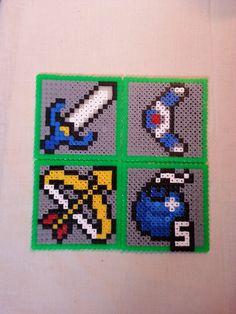 Zelda drinks coasters, Weapons set, Zelda gift, Hama beads, Perler beads, bead art, video game art, retro video games, geekery.