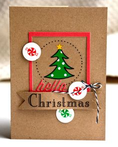 SRM Stickers - @Valerie Mangan created this fabulous Christmas card using SRM Stickers and cardstock and a touch of twine!