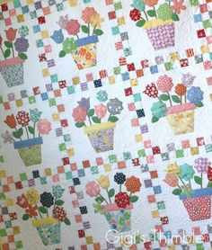 Pot 'o Flowers - 1930's reproduction feedsack quilt, 1930's fabrics, feedsack fabrics
