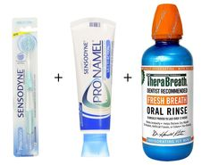 Sensodyne and TheraBreath Kit for Whiter and Healthier Teeth. Precision Toothbrush, Pronamel Cleansing Toothpaste and Icy Mint Breath Mouthwash ** See this great product.