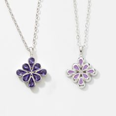 """Swarovski Crystal Jewelry - click on picture to visit website Heather Necklace Item 4015NF Reversible Tanzanite crystal; rhodium plating; 16"""" to 19"""". Reverse pendant to show lavender epoxy side. $59.00 Alison Manaher's Personal Website"""