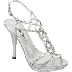 These are cute special occasion shoes with rhinestones straps down the center of the foot, an open back, and two slim straps across the toe as well as a rhinestone studded stiletto heel.