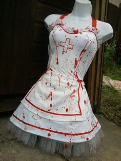 this sexy white nurses dress with built in tutu underskirt, has had a zombie makeover and now look like youve worn them Doctor Halloween, Halloween Outfits, Halloween Costumes, Halloween Makeup, Halloween Ideas, Halloween Party, Zombie Nurse Costume, White Nurse Dress, Tutu