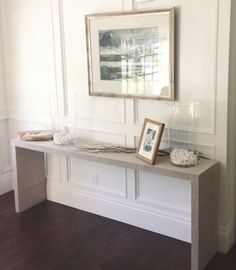 WHITE + GOLD: IKEA HACK - MALM TABLE TO GRASSCLOTH CONSOLE by alicia