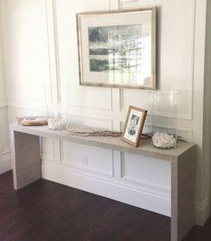 WHITE + GOLD: IKEA HACK - MALM TABLE TO GRASSCLOTH CONSOLE by alicia