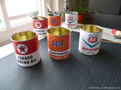 Pinewood Derby - replica-vintage-motor-oil-can-phillips66-texaco-gulf-13 for goody bag awards Free download, print for Progresso soup cans. Use safety style can opener to remove sharp rings left on pop top cans.