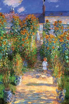 The Artist's Garden at Vetheuil  Series: Fine Art Artist: Claude Monet Period: Impressionism Source country: France Source Year: 1880  ambroseni.com