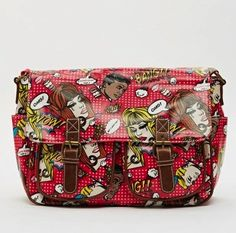 A Delightful Comic Graphic Print Satchel RED - www.edsfashions.co.uk School and College Bags OILCLOTH SATCHELS