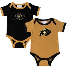 Colorado Buffaloes Newborn Two-Pack Embroidered Creeper Set - Gold/Black