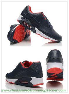 uk availability d322e 56ba0 meilleure chaussure running All Bleu Rouge Nike Air Max 90 Leather Hommes