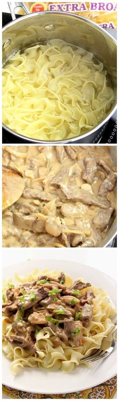 Beef Stroganoff Recipe - make this classic dish right in your kitchen with just a few ingredients and only 20 minutes from start to finish! Comfort food at it's best!(Whats Your Favorite Food) Meat Recipes, Pasta Recipes, Dinner Recipes, Cooking Recipes, Recipies, Beef Dishes, Pasta Dishes, Food Dishes, Main Dishes