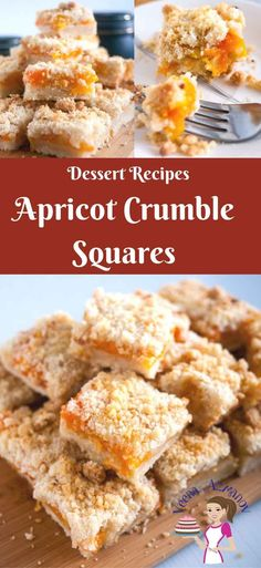 These apricot crumble squares are a great twist on the classic fruit crumble tarts. Simple and easy to make, weather you use fresh, canned or frozen apricots. This is definitely a crowd pleaser and great tea time snack via @veenaazmanov Apricot Crumble Recipe, Crumble recipe, apricot crumble, easy apricot crumble, apricot dessert, how to apricot dessert
