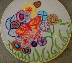 embroidered butterfly garden work in progress Hand Embroidery Flowers, Embroidery Works, Embroidery Hoop Art, Ribbon Embroidery, Embroidery Stitches, Embroidery Designs, Embroidery Techniques, Sewing Techniques, Yarn Needle