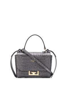 Givenchy Eden Mini Croc-effect Leather Shoulder Bag In Grey Calf Leather, Leather Shoulder Bag, Shoulder Strap, Shoulder Bags, Rockn Roll, Logo Stamp, Embossed Logo, Bago, Hermes Kelly