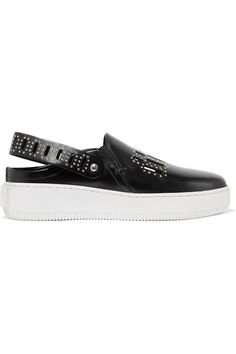 Shop on-sale McQ Alexander McQueen Netil studded cutout polished-leather slip-on sneakers. Browse other discount designer Sneakers & more on The Most Fashionable Fashion Outlet, THE OUTNET.COM