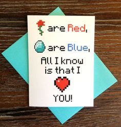 Minecraft Love Card by TurtlesSoup on Etsy, $3.75